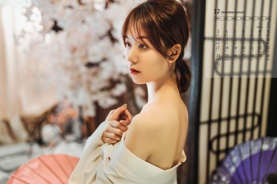 2018年12月清纯和服美女唯美高清日历壁纸