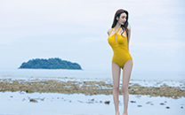 <海边泳装美女高清诱人长腿性感酥胸写真桌面壁纸
