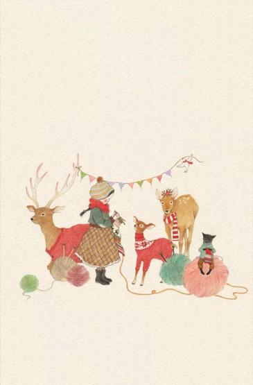 圣诞节卡通文艺插画图片手机壁纸