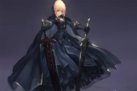 <fate精美同人二次元贞德黑saber动漫美女桌面壁纸