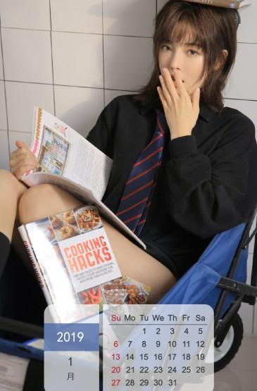 2019年1月性感美女日历图片手机壁纸