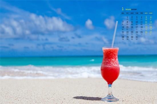 <2019年1月蓝色沙滩唯美高清日历壁纸