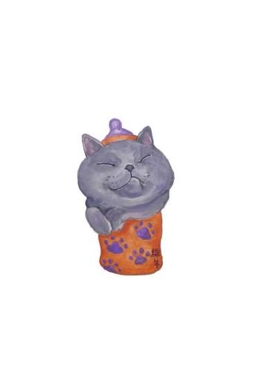 <文艺手绘卡通小猫咪高清图片手机壁纸
