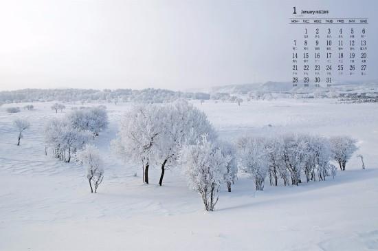 2019年1月清新雪景图片日历壁纸