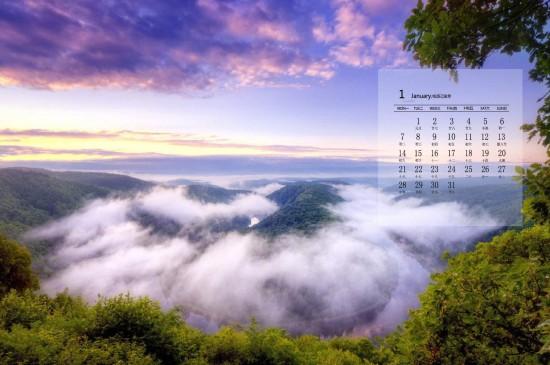 2019年1月大自然美景图片日历壁纸