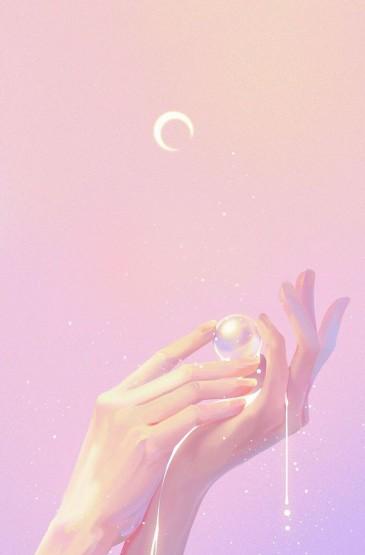 粉色少女系卡通手机壁纸图片