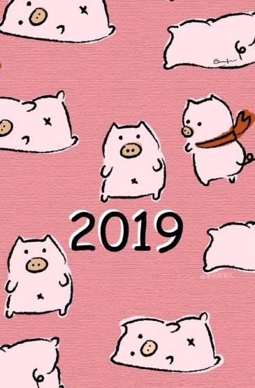 2019猪年卡通手机壁纸图片