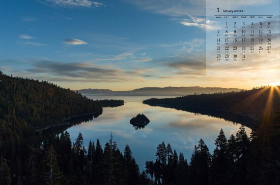 2019年1月太浩湖美景图片日历壁纸