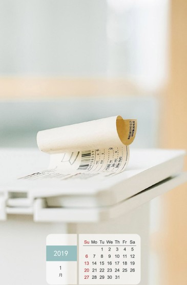 2019年1月简约静物日历图片手机壁纸