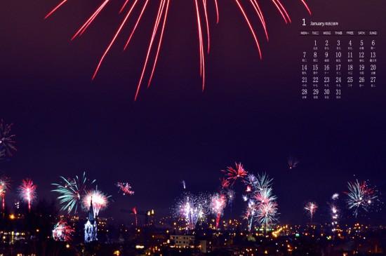 2019年1月城市繁华夜景图片日历壁纸