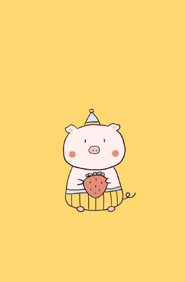 呆萌卡通小猪插画图片手机壁纸