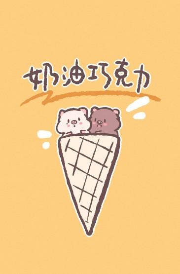新年双猪卡通创意高清图片手机壁纸