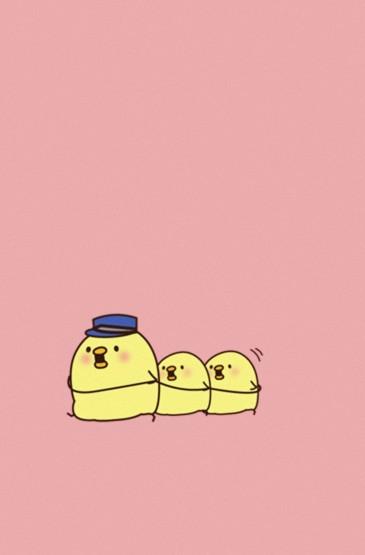 可爱呆萌卡通小黄鸡图片手机壁纸