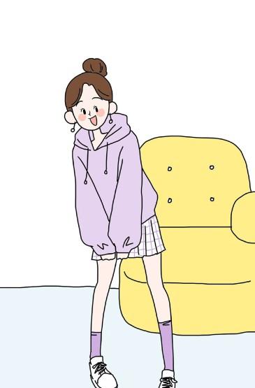 个性穿搭创意手绘手机壁纸
