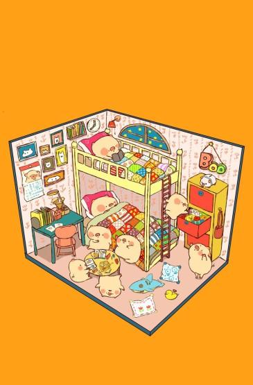 <呆萌卡通猪可爱插画图片手机壁纸