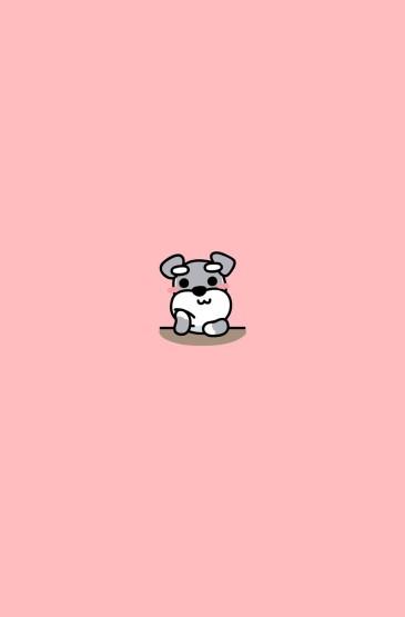 唯美狗狗卡通平鋪手機壁
