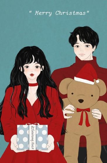 创意唯美浪漫情侣插画图片手机壁纸
