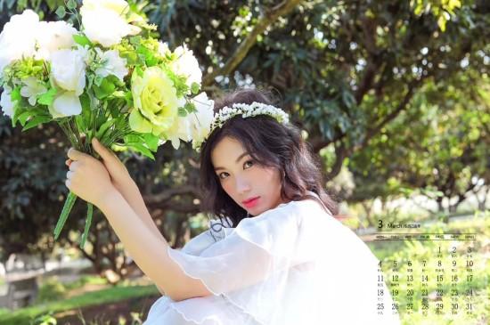 2019年3月清纯美女养眼写真日历壁纸