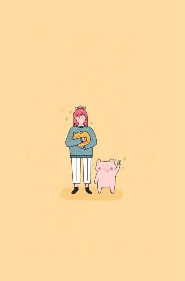 <简约小清新文艺小猪插画图片手机壁纸