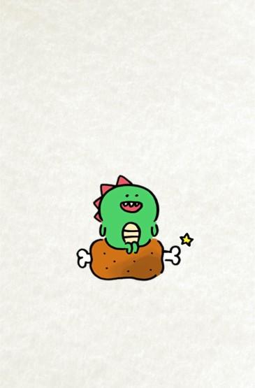 卡通萌物恐龙插画高清手机壁纸