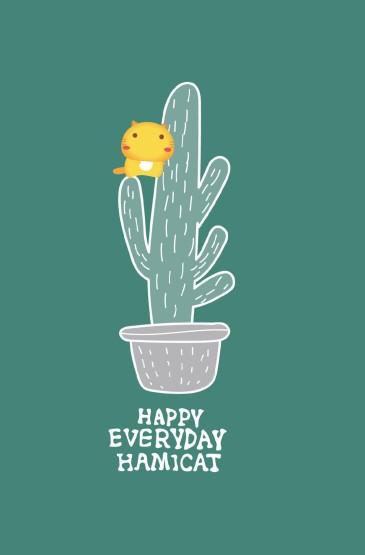 <哈咪猫绿色系可爱图片手机壁纸