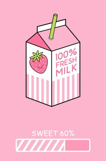 粉色少女心卡通插画唯美图片手机壁纸
