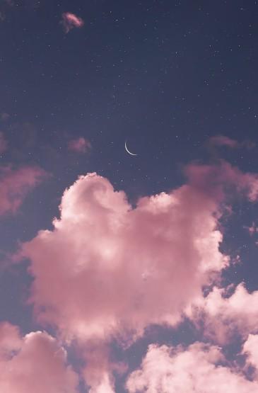 <天空中的星月云手机壁纸