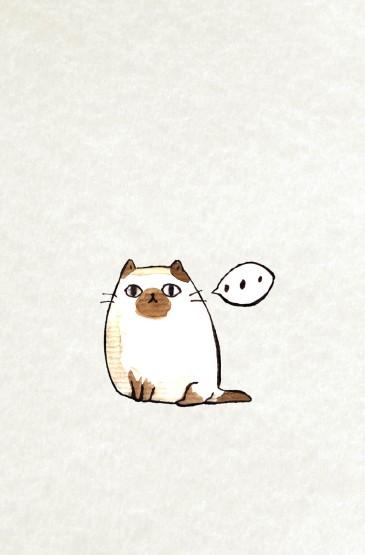 猫咪手绘设计高清手机壁纸
