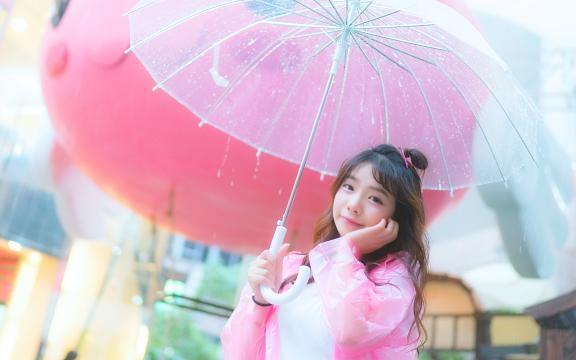 粉色系可爱少女户外清纯