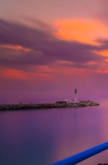 夏季日落海邊碼頭唯美風景圖片手機壁紙