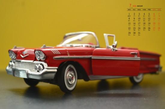 2019年7月小汽车模型图片日历壁纸