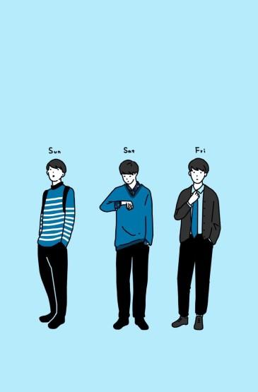 个性少男少女穿搭手绘手机壁纸