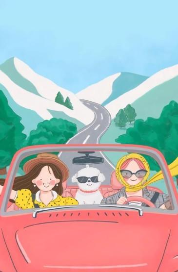 清新可愛插畫唯美手機壁