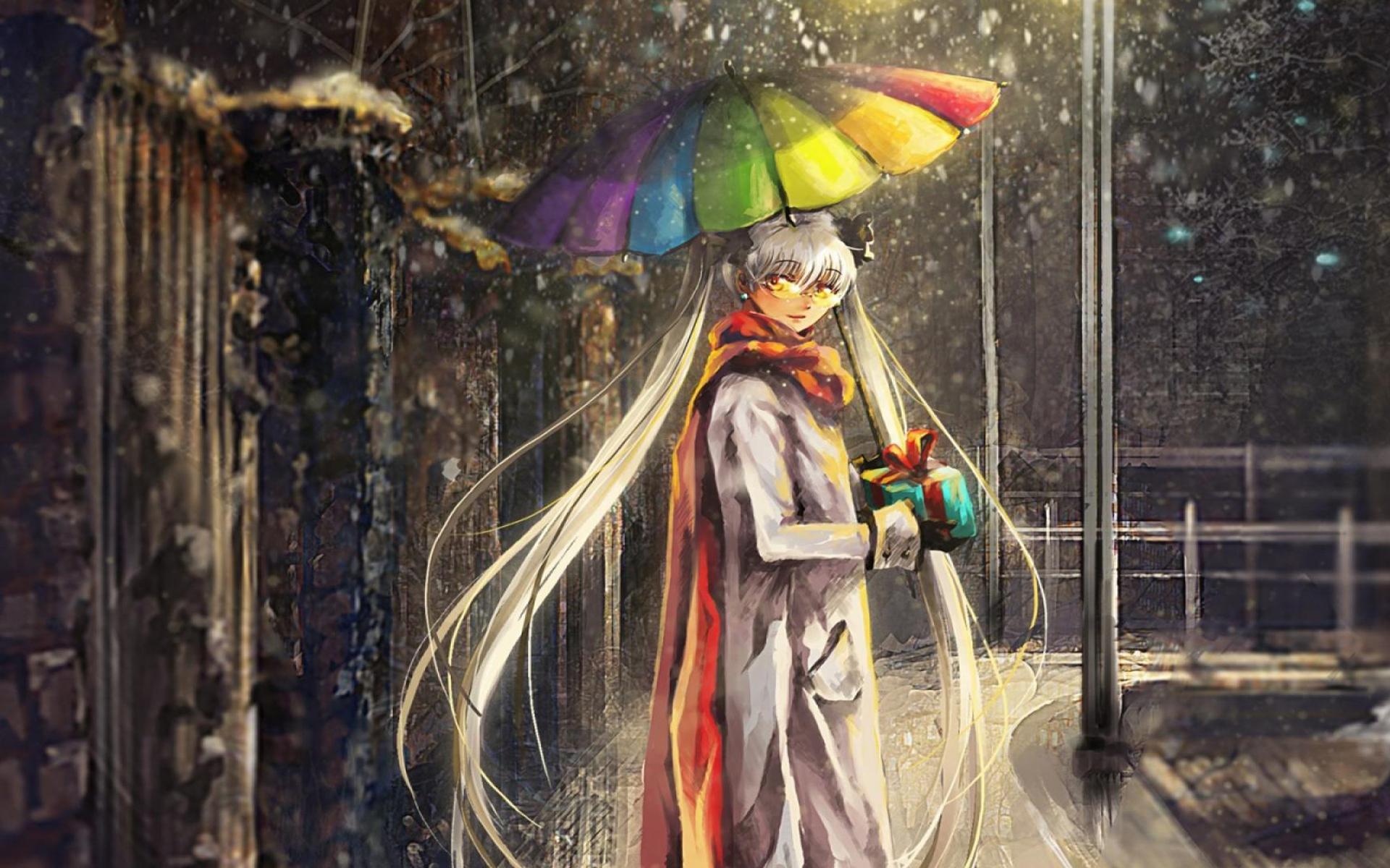 撑雨伞的动漫少女桌面壁纸图片