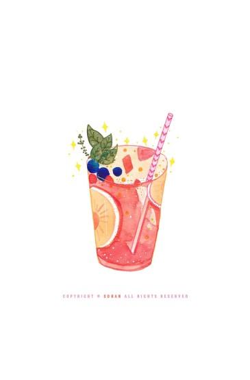 <夏日甜品手绘手机壁纸图片