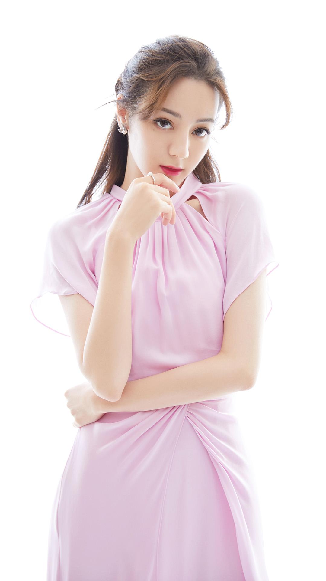 迪丽热巴粉色裙性感时尚写真图片手机壁纸