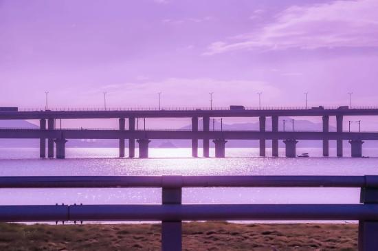 少女心粉紫色天空自然风景意境桌面壁纸