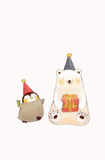 超可爱大白熊卡通图片手