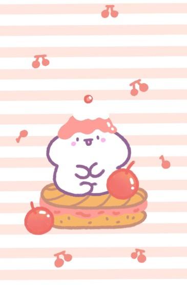 粉色可愛萌兔手機壁紙