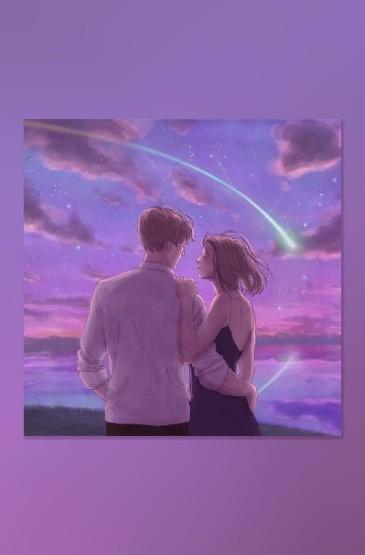 甜蜜情侣爱情插画高清手