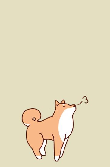 可愛萌系手繪柴犬手機壁