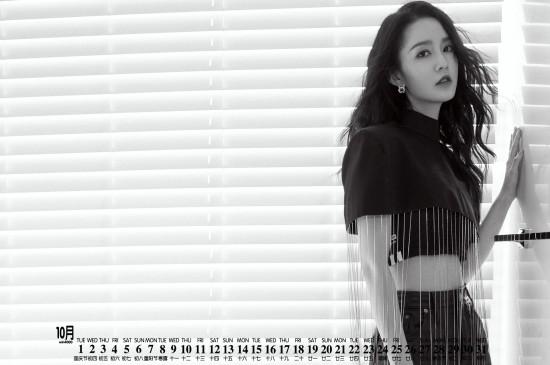 2019年10月李沁优雅甜酷日历壁纸