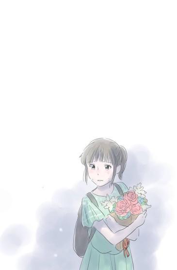 小清新手繪女孩手機壁紙