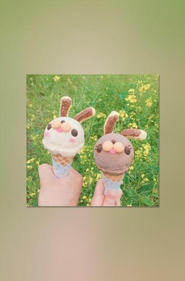 簡約ins風萌兔冰淇淋手