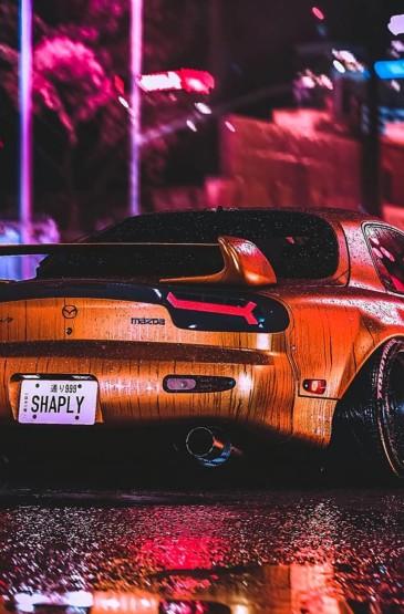 炫酷雨中跑车摄影高清手机壁纸