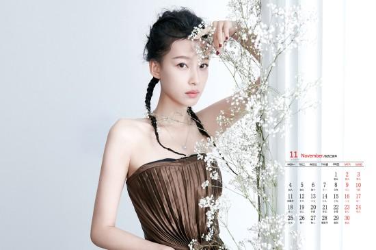 2019年11月孙怡清新养眼高清日历壁纸