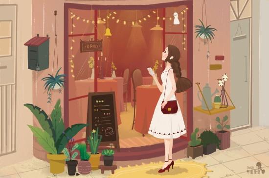 <卡通少女插画桌面壁纸图片