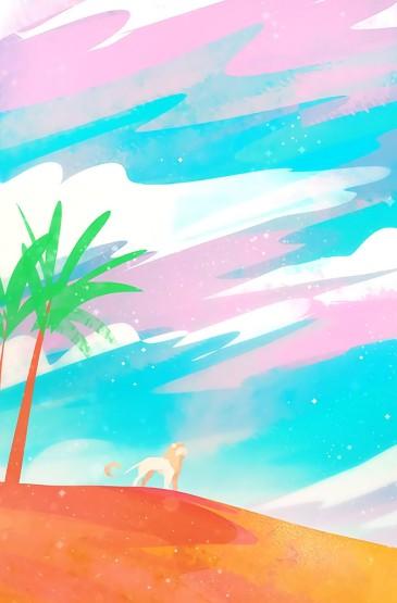 可愛二次元風景插畫高清手機壁紙