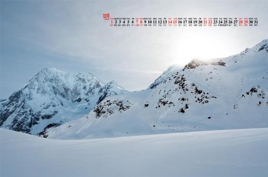 2019年12月圣潔的雪景唯美高清日歷壁紙