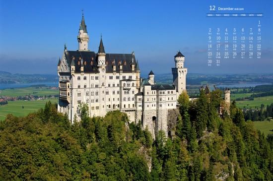 2019年12月城堡建筑圖片日歷壁紙